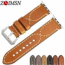 ZLIMSN  genuine cow leather  vintage design watchbands watch accessory bracelet for apple watch band 42mm 38mm series