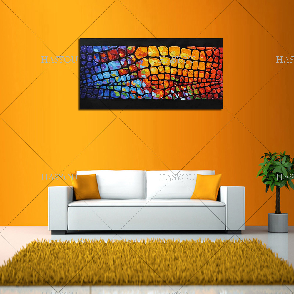 US $14 5 50% OFF Unframed Handpainted On Canvas Wall Art Abstract Paintings  Modern Flowers Palette Knife Oil Painting for Home Decor-in Painting &