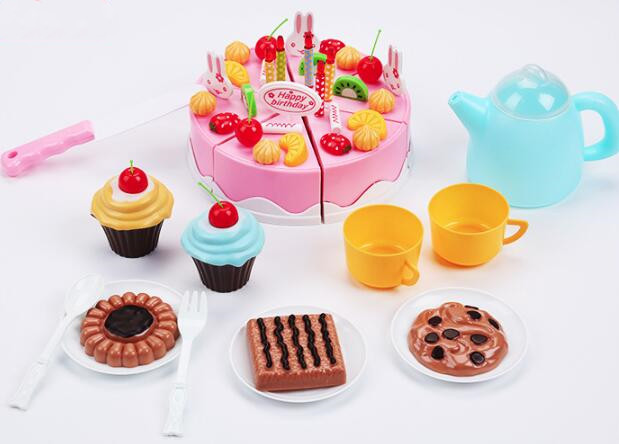 Baby Girls Pretend Role Play Kitchen Food Fruit Happy Birthday Cake Cutting DIY Toys 37 pcs Set Pink Kitchen Toy For Children birthday cake