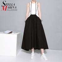 2016 European Women Fashion Long Maxi Black Skirt High Waist Suspender Straps Pleated Cotton Skirts Female