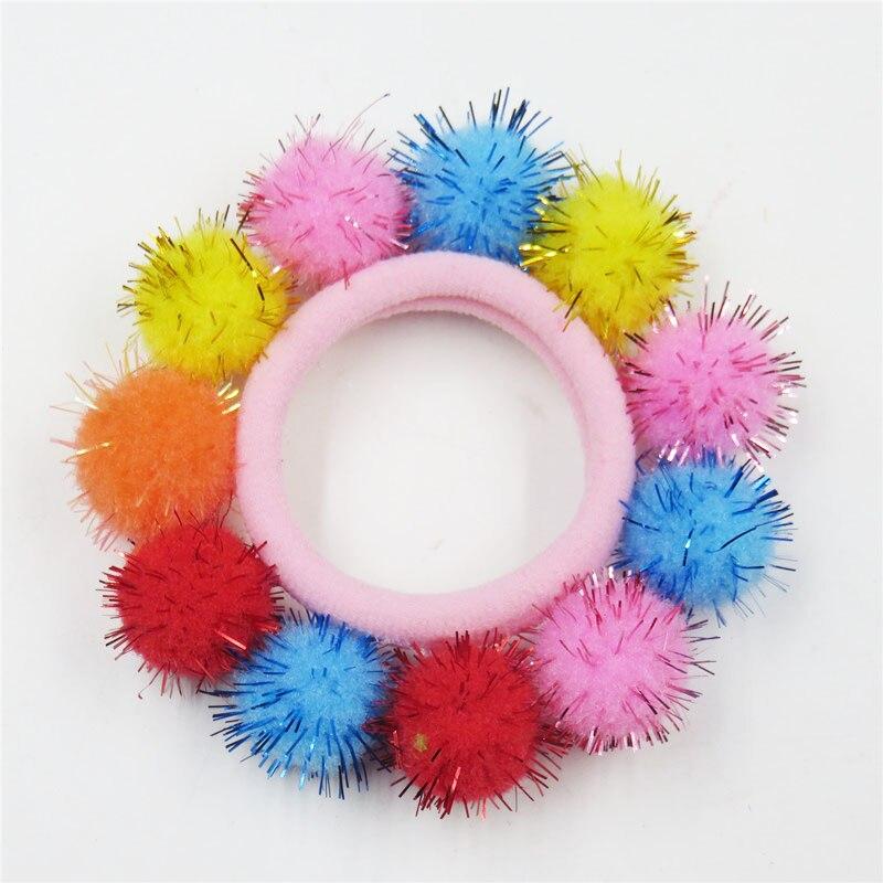 1PCS Pretty Candy Full Hair Balls Elastic Hair Bands For Girls Handmade Bow Headband Scrunchy Kids Hair Accessories For Women