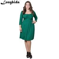 Summer Women Elegant Business Party Formal Office Dress Plus Size Fantaist Work Square Collar Above Knee