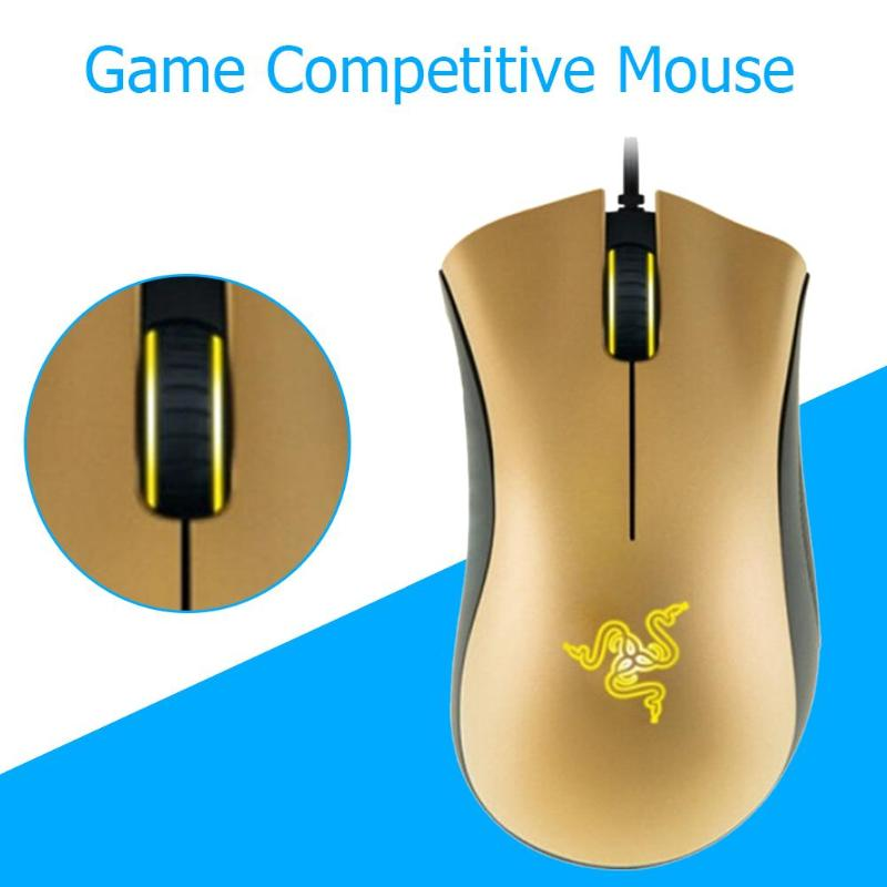 Razer Computer Mouse Deathadder-Mice Mices Wired-Gaming-Mouse Optical-Sensor Gold DPI