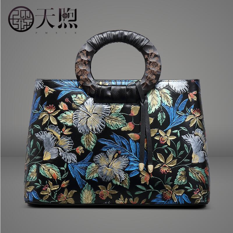 Genuine Leather women bag Pmsix2018 new hit color leather embossed handbag Exquisite embossed retro shoulder Messenger bag