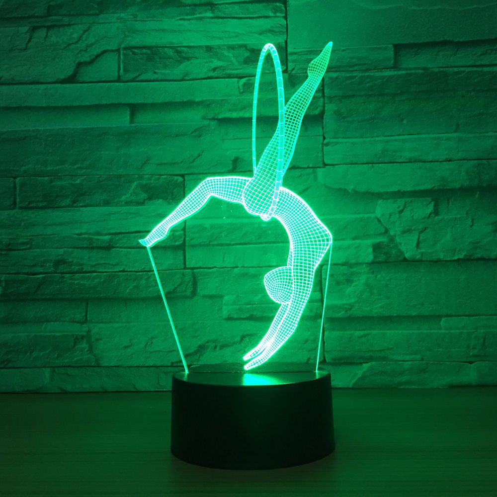 7 Colorful 3D Visual Night Lights Led Art Gymnastics Movement Modelling For Kids Touch Button USB Lampara Table Lamp Home Decor