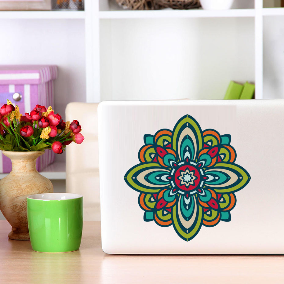 Mandala Flower Pattern Laptop Sticker Indian Style Art Vinyl Murals Creative Diy Wallpaper For Computer Vintage Home Decor In Wall Stickers From