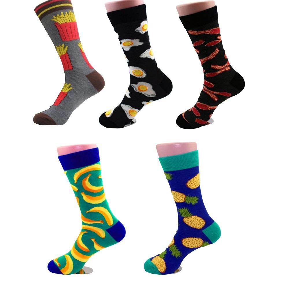 Novel Personality Socks Animal Food Fruit Funny Patterned Mens Sock Spring Summer Comfortable Transparent Breathable Socks New