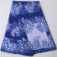 China Store Embroidery Quality Royal Blue Lace Flower French Net Fabric African Tulle Lace With Stone