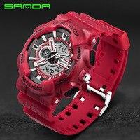 Erkek Saatler Top Marka Lüks SANDA Dijital-G Tarzı Askeri Spor Şok Saatler Erkekler LED Kuvars Dijital İzle reloj hombre