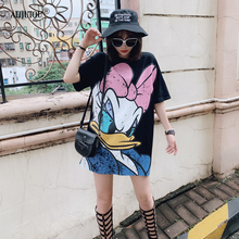 Fashion Daisy Duck Girl Print Summer New Dress Vestidos Casual Short Sleeve O-Neck Black Straight T-shirt Funny Women Dresses