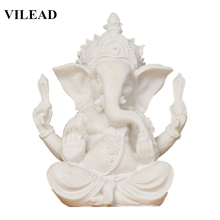 VILEAD Nature Sandstone White India Elephant God Figurines Miniatures Buddhism Hidu Statuettes Vintage Home Decor
