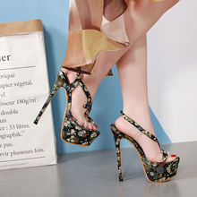 Sexy Summer Sandals Women Shoes Platform Thin Heel Ultra High Heels 17CM Flower Transparent Crystal Sandals Shoes Female Wedding 2017 women high heel sandals sexy crystal transparent women shoes fish head high platform 14cm19cm shoes sandals buckle style
