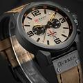 Мужские кварцевые часы CURREN  спортивные часы с кожаным ремешком  2019