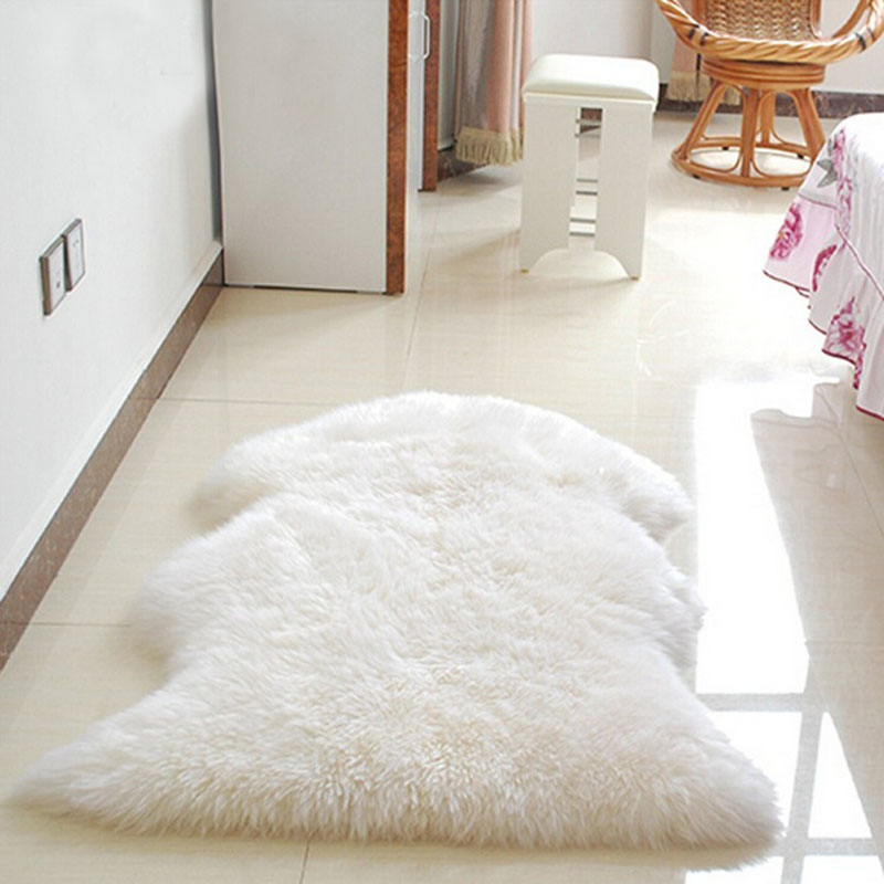 hairy carpet soft faux sheepskin rug sofa chair antislip cover bedroom mat seat pad