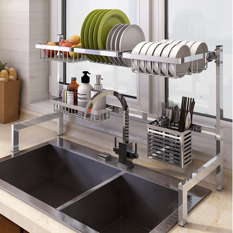 2019 New 304 Stainless Steel Kitchen Dish Rack Plate Cutlery Cup Dish Drainer Sink Drying Rack Kitchen Organizer Storage Holder stainless steel sink drain rack