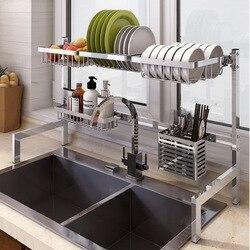 2019 neue 304 Edelstahl Küche Dish Rack Platte Besteck Tasse Teller Abtropffläche Waschbecken Trocknen Rack Küche Organizer Lagerung Halter