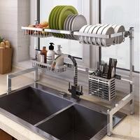 Novo 304 aço inoxidável prato de cozinha rack talheres copo escorredor prato pia secagem rack cozinha organizador armazenamento titular|Racks e suportes| |  -
