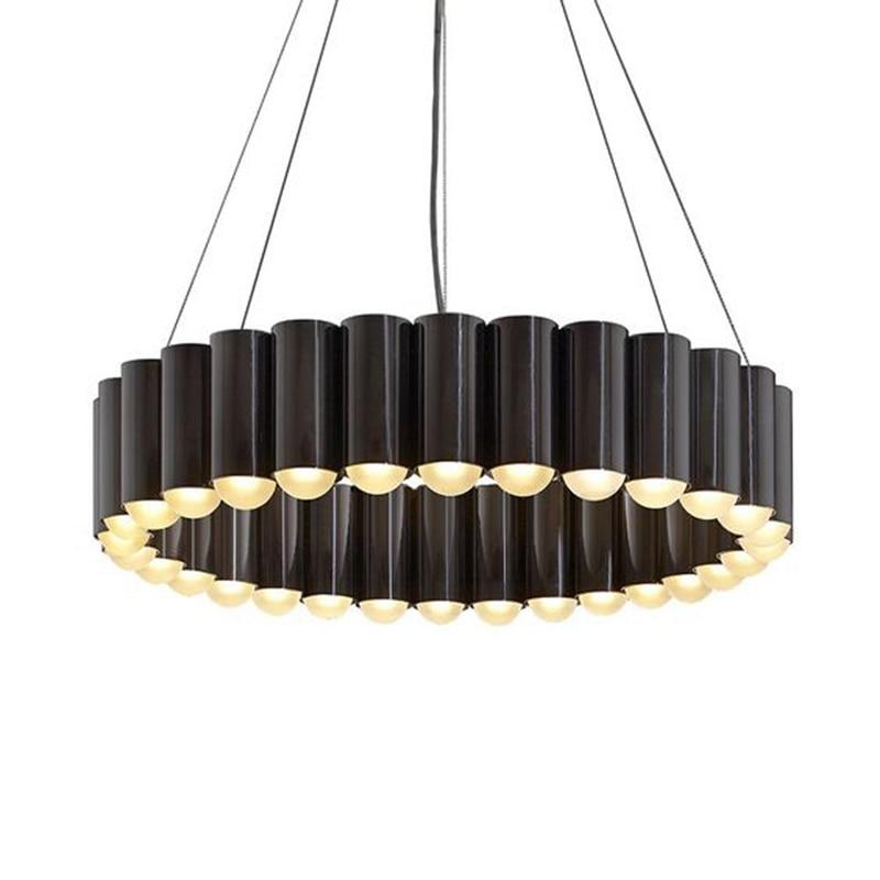 Lampe suspendue minimaliste ronde moderne cercle pendentif LED tube de lumière lampe suspendue noir cuisine île salon salle à manger