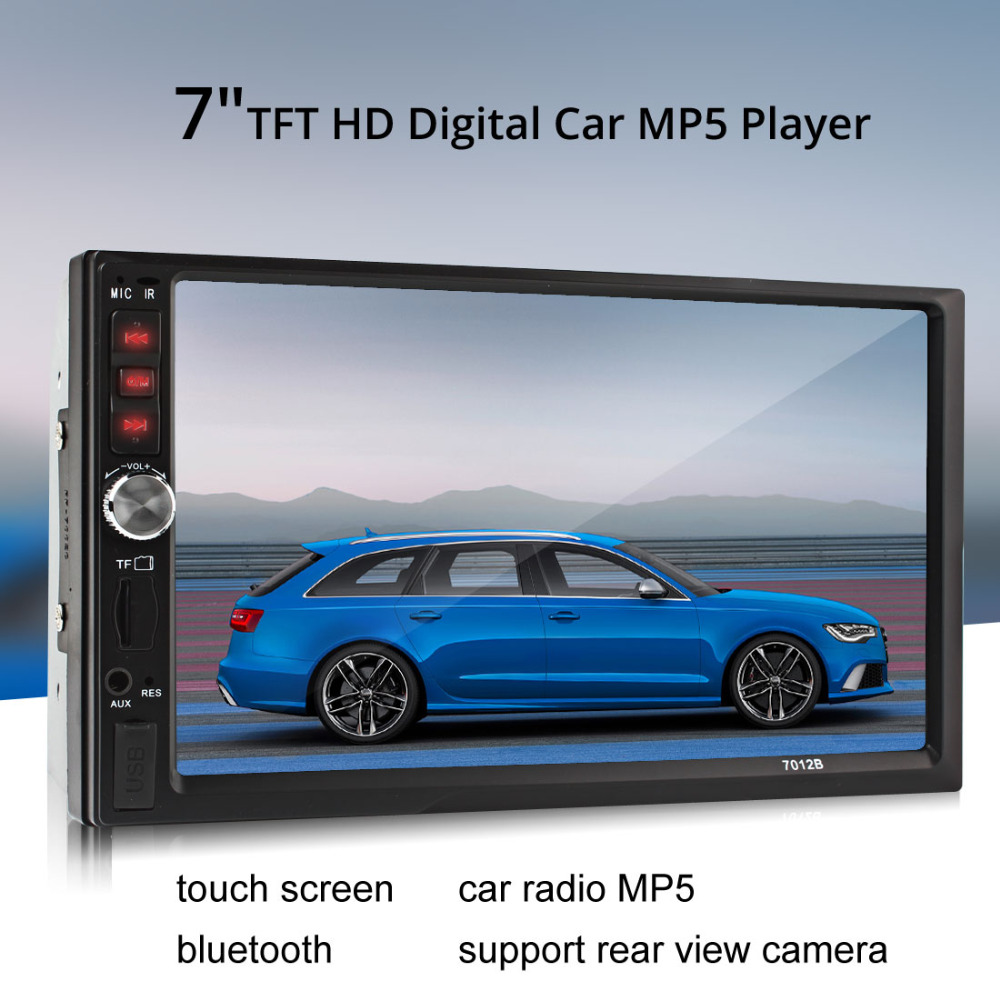 7 Inch Bluetooth TFT Screen Auto Car Radio MP5 Player Stereo 12V 2-Din Support Audio Video MP4 MP3 AUX FM USB SD MMC + Remote 7 inch touch screen 2 din car multimedia radio bluetooth mp4 mp5 video usb sd mp3 auto player autoradio with rear view camera