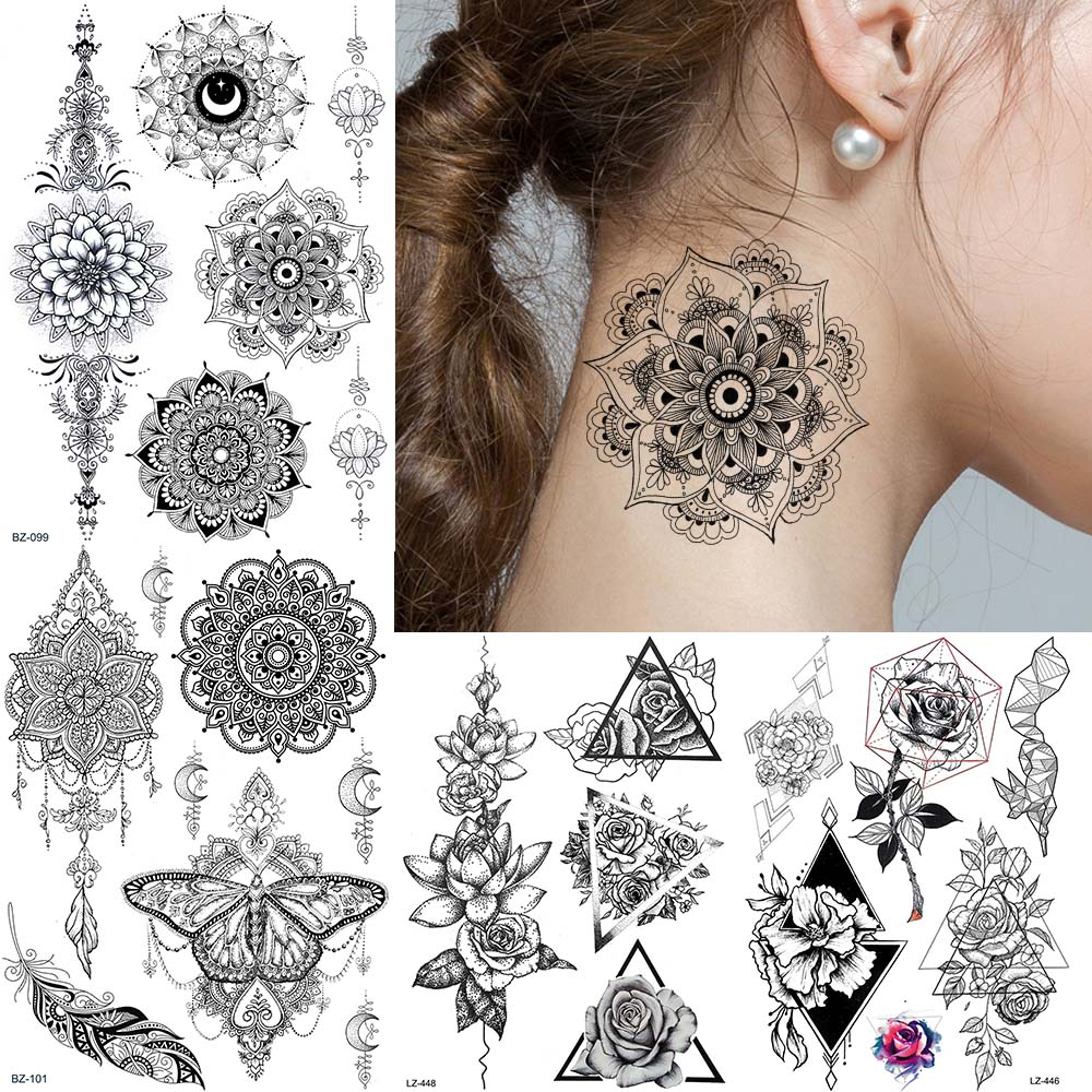 Us 0 99 Large Black Henna Mandala Flower Temporary Tattoo Stickers Fake Women Ear Tatoos Bracelet Neck Triangle Lotus Wedding Tattoos In Temporary