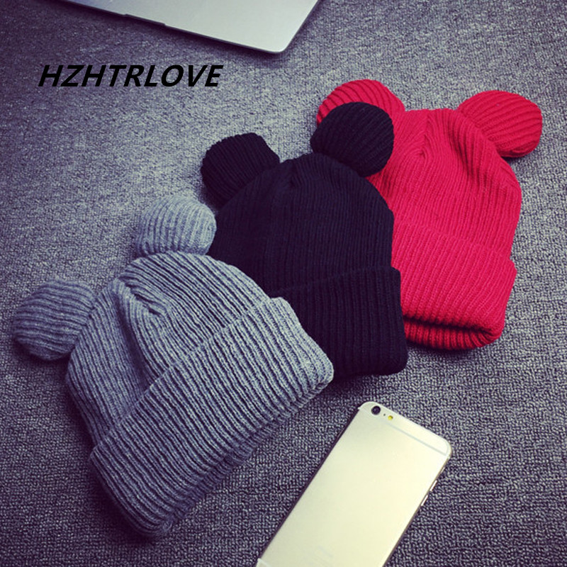 High Quality Cotton Women's Winter Hats Warm Knitted Hat With Ears Women's Hat Knit Caps Girl Beanies Hip-hop Skullies Femme