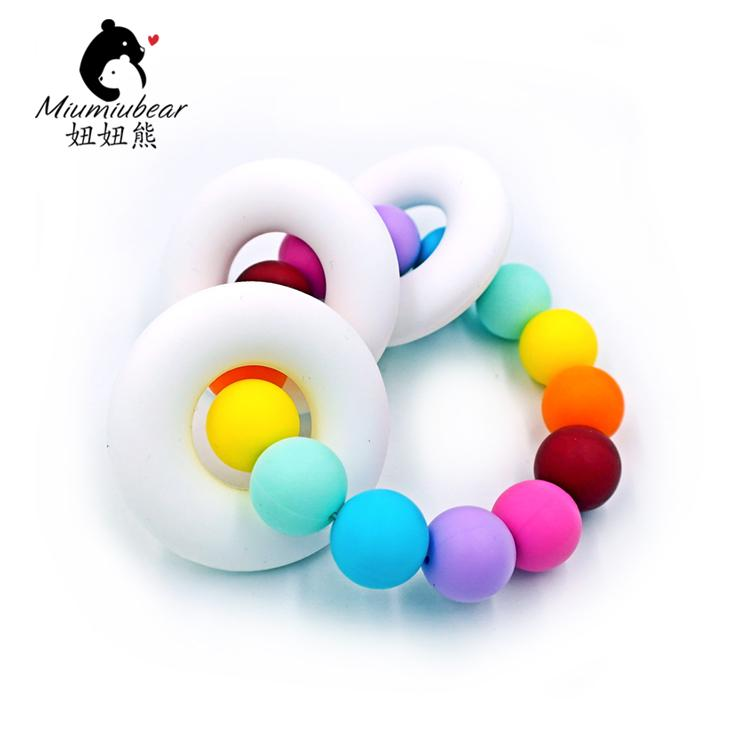 fun teether teething drool sensory silicone free dp and bpa chew proof pain amazon colorful com rings soothing relief pack toys