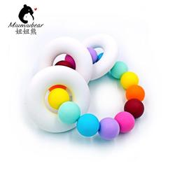 Baby silicone teether ring chewable bracelet rainbow beads silicone toy teething shower gift food grade bpa.jpg 250x250