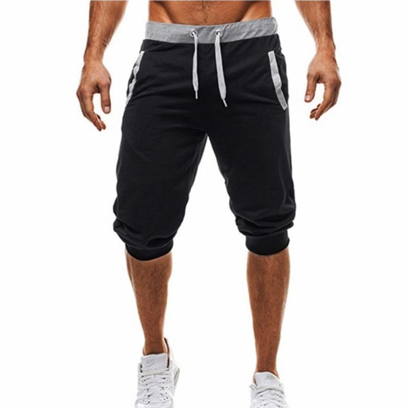 Summer Men Leisure Men Knee Length Shorts Color Patchwork Joggers Short Sweatpants Trousers Men Bermuda Shorts Hip Hop Shorts