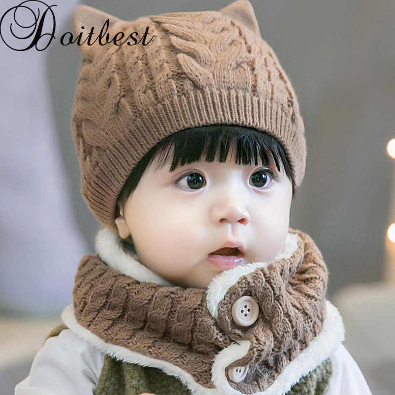 f7ce37dc Doitbest 6 Months to 3 years old baby kids beanie puppy twist wool solid  boys Knitted