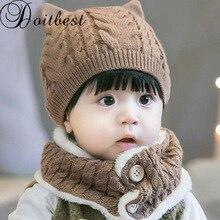 Doitbest 6 Meses para 3 anos de idade as crianças do bebê filhote de  cachorro de lã torção sólidos meninos Malha chapéus de inve. eac7722dbd0