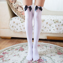 1 Pair Women White Stockings Overknee Winter White Stocking Thigh High Knee Hosiery Cotton Lace Wave Bow Woman Hosiery