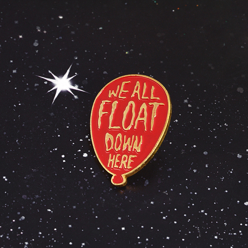 We All Float Down here Badge Scary Clown Balloons Enamel pin Cute Horror Clown Brooch for Women Men
