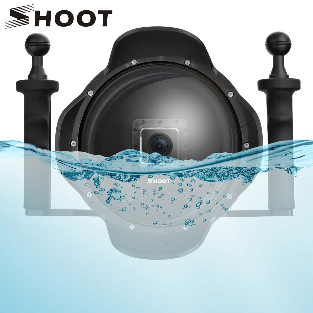 SHOOT 6 inch Diving Dome Port for Gopro Hero 4 3+ With Handheld Stabilizer LCD Waterproof Case Dome For Go Pro Diving Accessory цена и фото