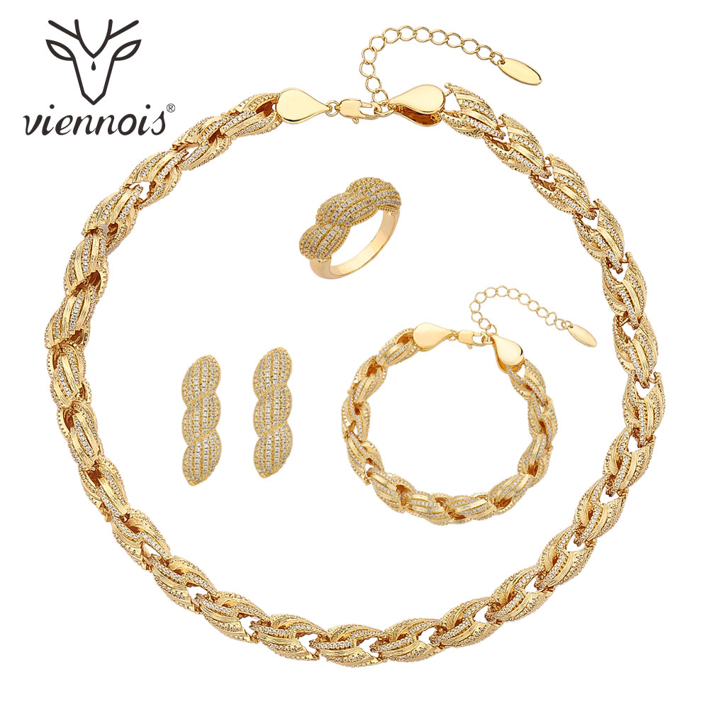 Viennois Silver Gold Color Drop Earrings Necklace Set For Women Geometric Party Size 10 Jewelry Set