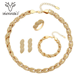 Image 1 - Viennois דובאי סגנון תכשיטי זהב נשים מצופה טבעת צמיד שרשרת שרשרת ועגילי תכשיטי סט 4 ב 1 תכשיטי סט