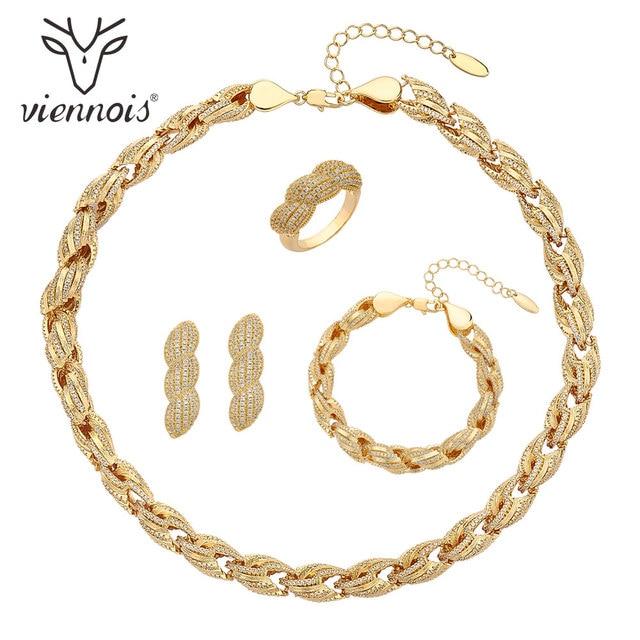 Viennois דובאי סגנון תכשיטי זהב נשים מצופה טבעת צמיד שרשרת שרשרת ועגילי תכשיטי סט 4 ב 1 תכשיטי סט