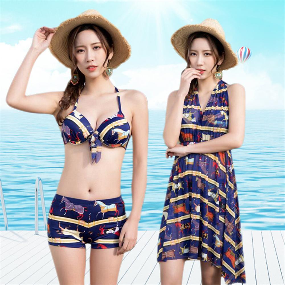 3 pcs Ensemble Bikini avec cover up Sexy Femmes Maillot de Bain Jupe Maillots De Bain Maillots De Bain Maillot de Bain Push Up Hot Fleur D'été Long
