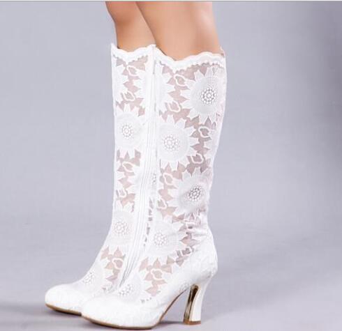 Tacón Pu Cuadrado Boda Caliente Mujeres Estrecha De Mediados Moda Botas De becerro Tamaño Punta Blanco Encaje Gran Zapatos B6WcpqrBw