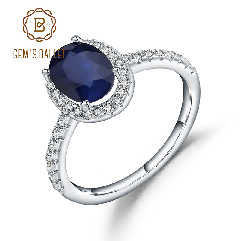 Gem's Ballet 1.66Ct Oval Natural Blue Sapphire 925 Sterling Silver Gemstone Wedding Engagement Rings For Women Fine Jewelry