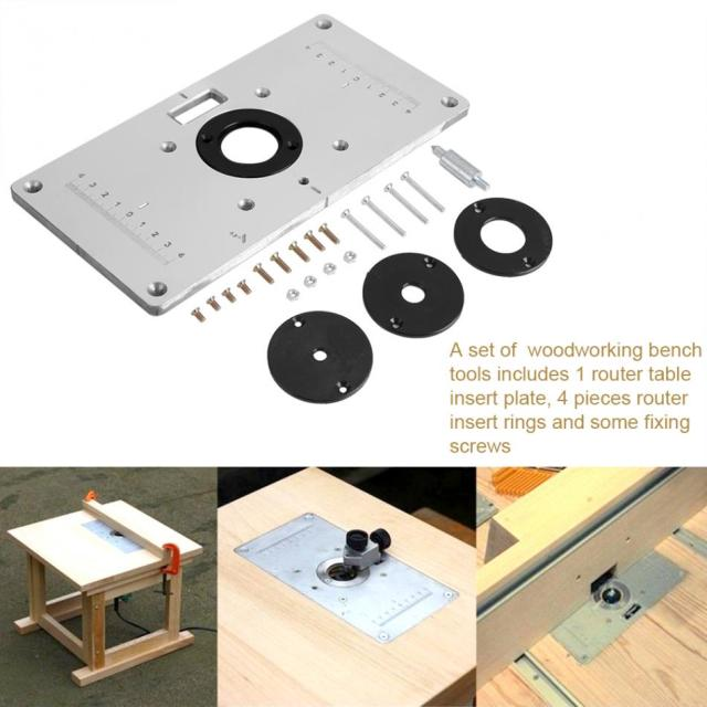 Woodworking trim bench plate aluminum router table insert plate with woodworking trim bench plate aluminum router table insert plate with 4 rings and screws for woodworking keyboard keysfo