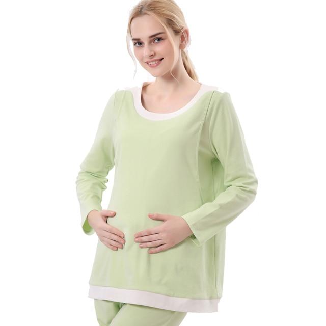 New fashion women maternity cotton t-shirt big size nursing clothes sets breasting clothes green and purple L,XL,XXL