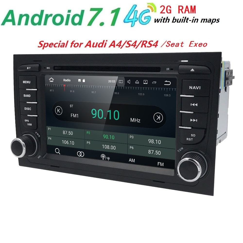2GRAM 4Core Android7.1 CarDVD Player For Audi A4 2002 2007 Audi S4 RS4 8E 8F B9 B7 RNS E with GPS Sat Nav CarAutoradio Bluetooth