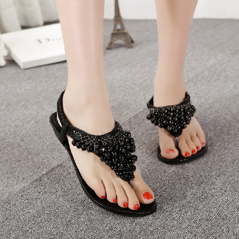 177c67098 The new 2017 pearl beads thong female sandals flat comfortable Bohemian  women s shoes-in Women s Sandals from Shoes on Aliexpress.com