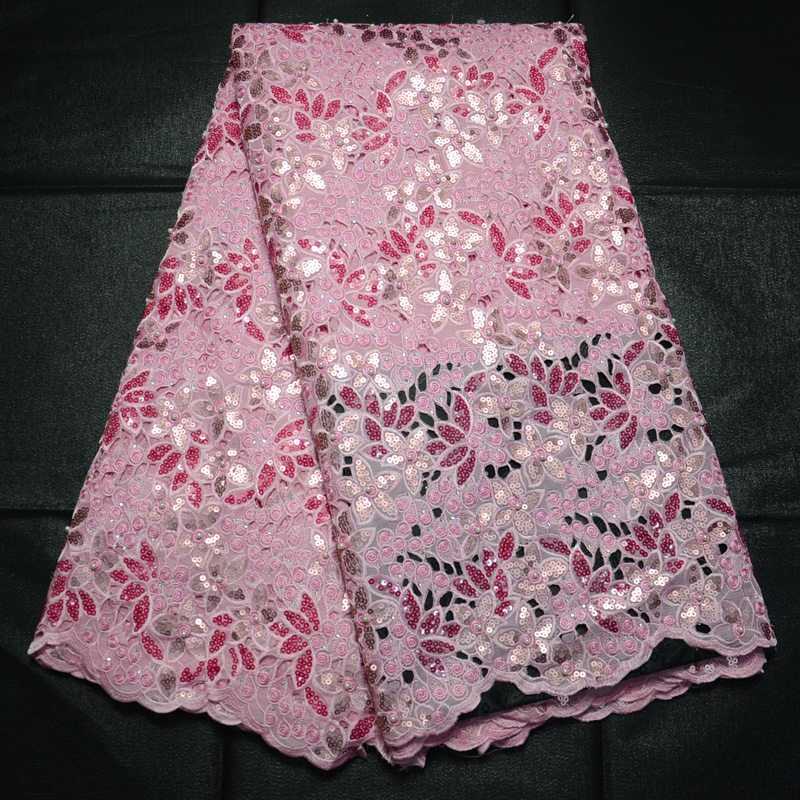 (5yards/pc) Top quality fushia pink African handcut organza lace fabric with lots of sequins stones + beads for party dress OP20