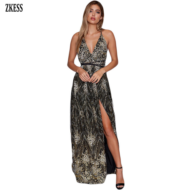 Zkess Women Daring Open Back Glittering Party Long Dress Sexy Deep V Neck  Mesh Hollow Out Slit Sleeveless Maxi Dress LC610534 c8f727c16840