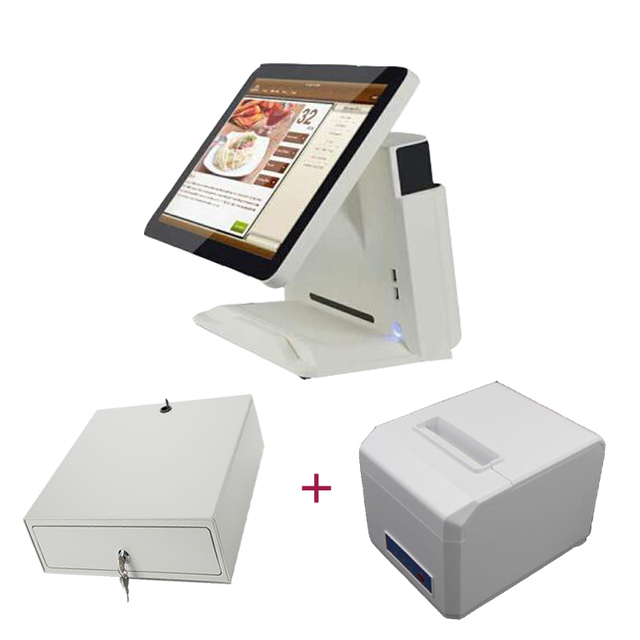 free shipping wholesale touch screen computer all in one pos sytem with 80mm pos printer cash drawer