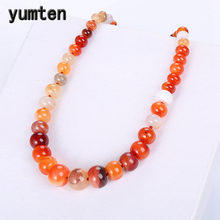 Yumten Red Agate Necklace Natural Stone Power Rainbow Crystal Balance Choker Charm Chain Reiki Vintage Men Women Yoga Jewelry(China)