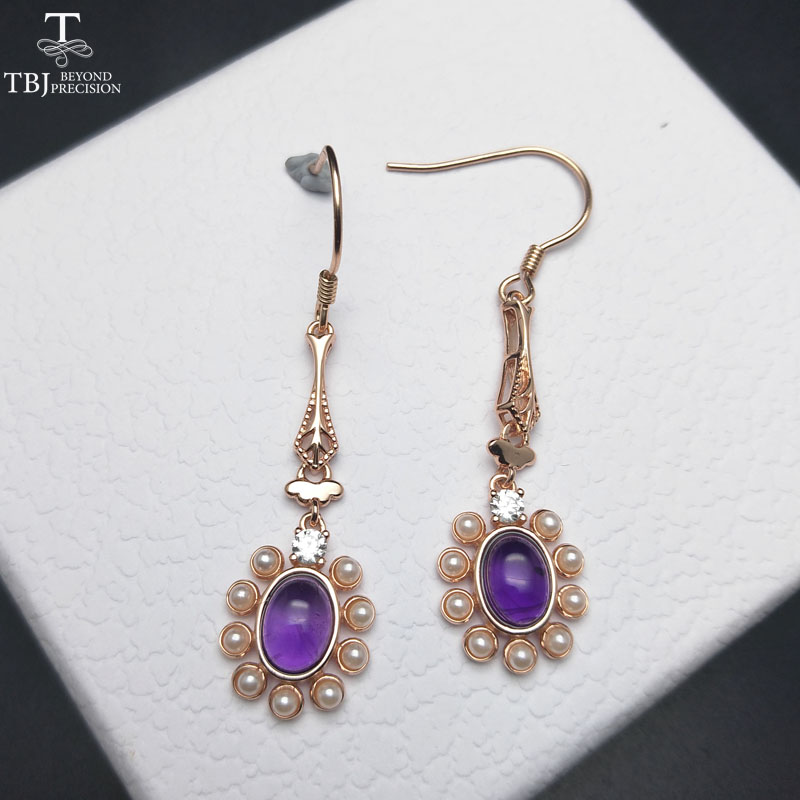 все цены на TBJ,natural african amethyst 3ct gemstone hook earring in 925 sterling silver rose color for girls & women with jewelry gift box онлайн