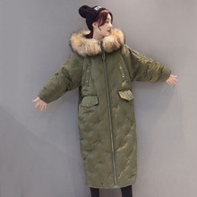 Womens Winter Jacket Coat Big Raccoon Fur Collar Hooded Long Solid Female Down & Parkas Thick Snow Warm Army Green Coat