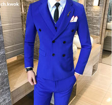 CH.KWOK Blue Mens Wedding Formal Suits With Pants Vest Double Breasted Costume Bridegroom Suit Pure Color Banquet Suits Slim Fit(China)